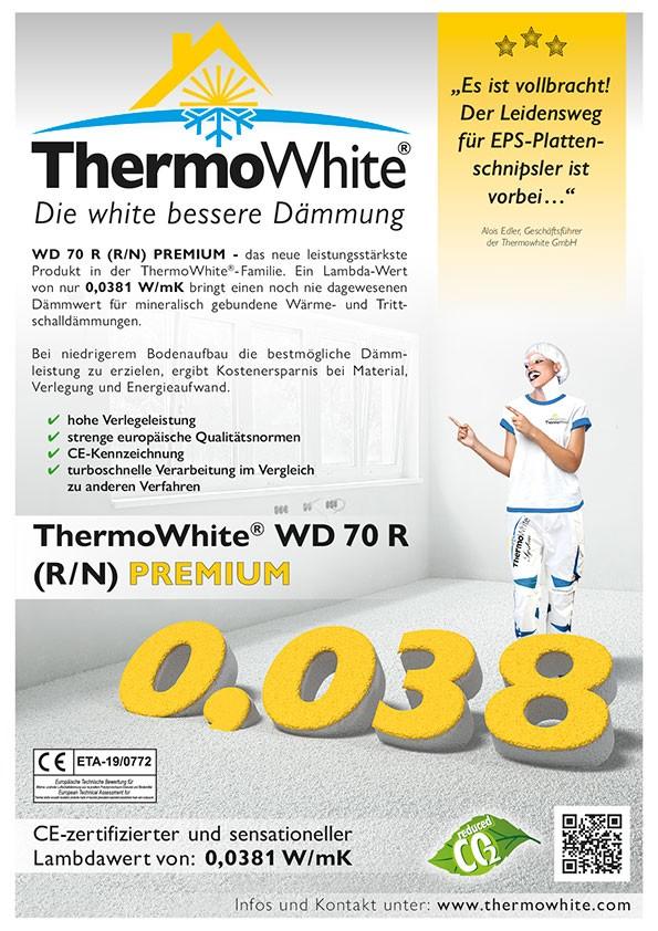 Info zur Dämmschüttung ThermoWhite WD 70 R (R/N) PREMIUM mit dem Lambda-Wert von 0,0381 W/mK